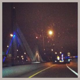 April 19: Zakim Bridge & TD Garden lit up in Boston Strong blue & yellow