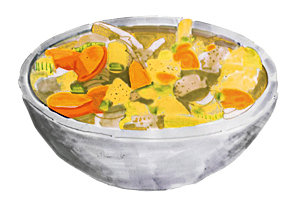 "Illustration of a classic comfort food, chicken noodle soup, by Holly Wales, which accompanied Attenberg's NYT article, ""The Unlikely Chef"""