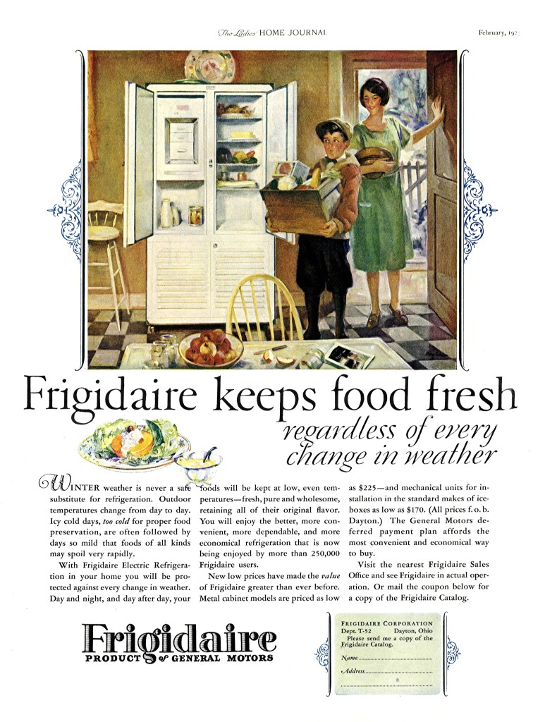 Prior to home refrigerators, housewives preserved food in a variety of ways. This 1927 ad works to re-educate housewives, promoting the regulated temps of technology as superior to nature.