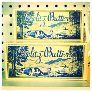 Mid-century butter boxes spotted during our recent road trip antiquing.