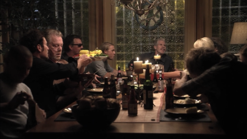 In episode two of the first season, the club gather's around Gemma's dining room table for a joyful family meal.