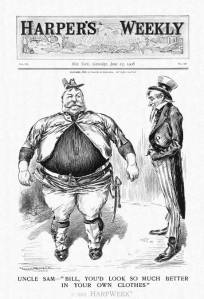 """Appearing a few days before the Republican National Convention convened in Chicago on June 16, 1908, this Harper's Weekly cartoon pokes fun at the girth of William Howard Taft, the all-but-certain presidential nominee of the Republicans.  Uncle Sam is amused to see the rotund candidate, whose weight fluctuated around 300 pounds, try unsuccessfully to fit into President Theodore Roosevelt's Rough-Rider uniform.  Beneath the mirth, however, is a serious criticism that Taft was slavishly mimicking Roosevelt's political positions in order to gain the presidency.  The charge was a legitimate one, but the reality was more complex."" (HarpWeek: Cartoon of the Day)"