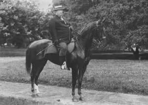 "Taft on horseback: ""l have attempted to exercise every day, and have gone riding...I feel in excellent condition."" Letter from William Howard Taft to Nathaniel Edwards Yorke-Davies. 8 December 1905."