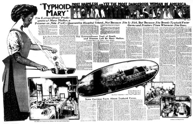 """Part of the June 20, 1909 New York American article that first identified Mary Mallon as """"Typhoid Mary."""""""