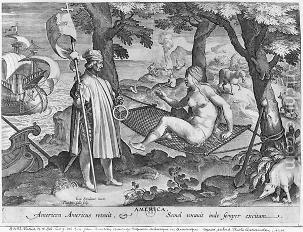 """""""The Discovery of America,"""" a 1630 engraving by Theodor Galle after a drawing by Jan van der Straet (ca. 1575)"""