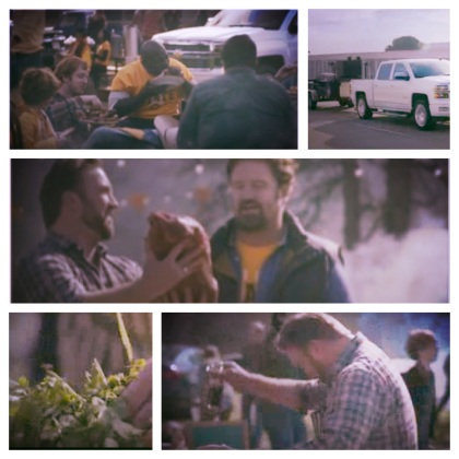 "Assorted imagery from the Chevrolet Silverado ""Wheatgrass"" commercial promotes meat, while denigrating kale."