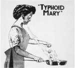 "Featured in a 1909 spread, this image created a villainous image of ""Typhoid Mary,"" cracking skulls into a skillet."