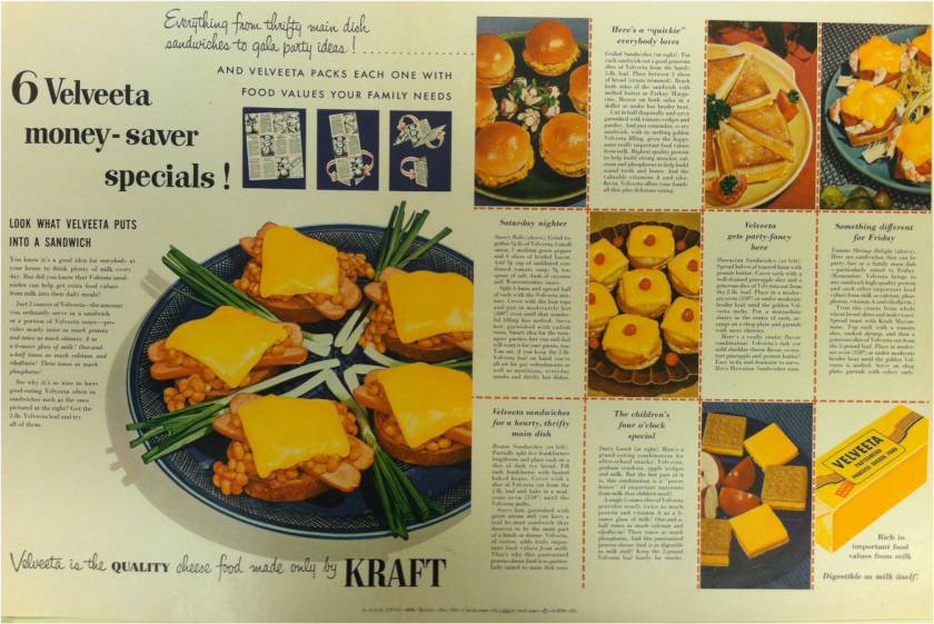 "This 1962 advertisement for Velveeta features recipes for ""everything from thrifty main dish sandwiches to gala party ideas!"""