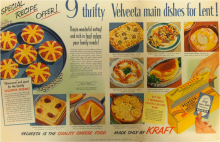 "Among these nine thrifty Velveeta main dishes for Lent are ""'glamorous' and good for the family Velveeta pizzas."