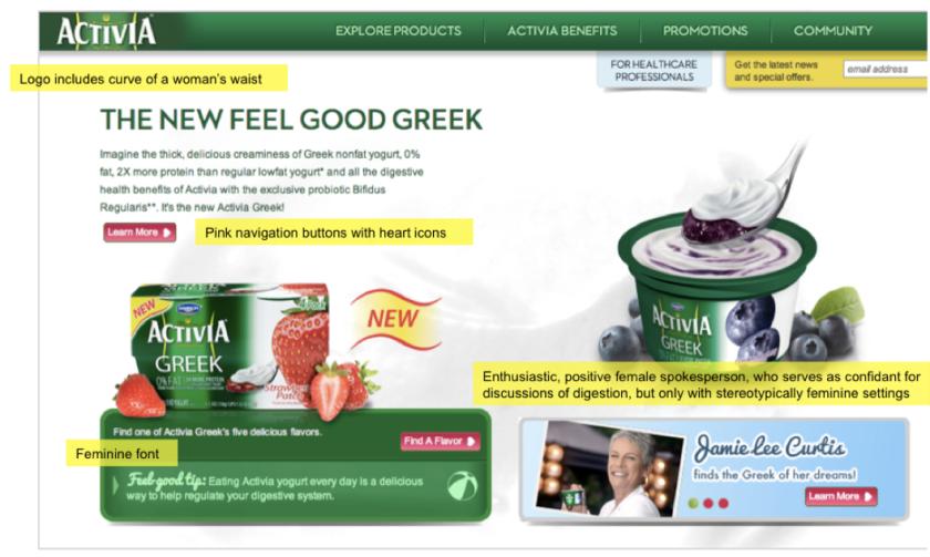 U.S. Activia website homepage, 2013