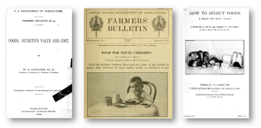 Left to right: W. O. Atwater's Food: Nutritive Value and Cost (1894), Caroline Hunt's Food For Young Children (1916), Helen Atwater and Caroline Hunt's How to Select Foods (1917)