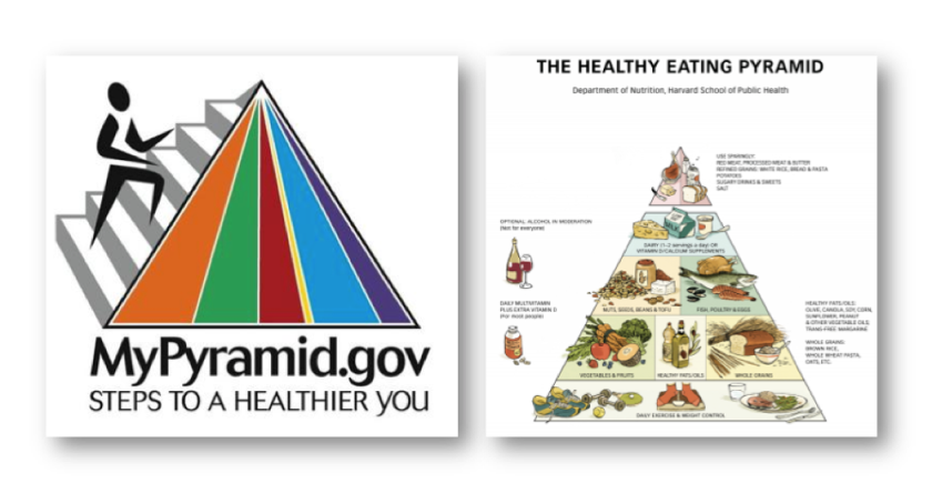 The MyPyramid Food Guidance System (2005) and the Harvard School of Public Health's Healthy Eating Pyramid