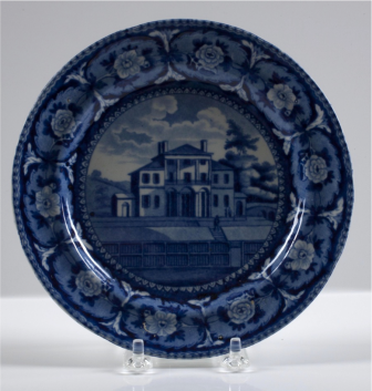 "John & William Ridgway, Insane Hospital, Boston, c1825, Staffordshire ceramic, 7"" plate"