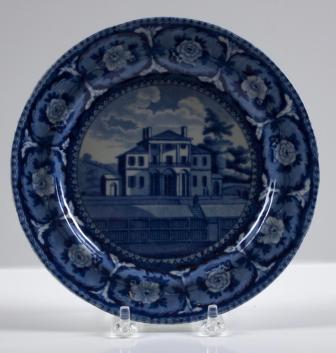 "John & William Ridgway, Insane Hospital, Boston, c1825, Staffordshire ceramic, 7"" plate"