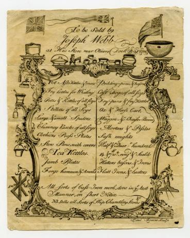 Paul Revere engraving, Joseph Webb advertisement, 1759