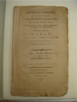 Amelia Simmons, American Cookery, 1796