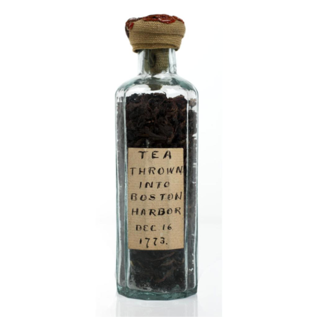 Sample of tea thrown into Boston Harbor, December 16, 1773